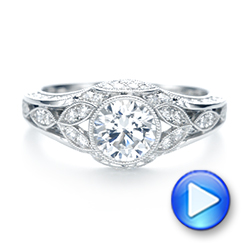 Vintage-inspired Diamond Engagement Ring - Interactive Video - 103046 - Thumbnail