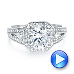 Three-stone Halo Diamond Engagement Ring - Interactive Video - 103051 - Thumbnail