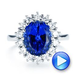 Custom Blue Sapphire and Diamond Engagement Ring - Interactive Video - 103055 - Thumbnail