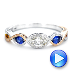 14k White Gold And 14K Gold Custom Two-tone Three Stone Blue Sapphire And Diamond Engagement Ring - Video -  103056 - Thumbnail