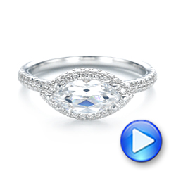 East-West Halo Diamond Engagement Ring - Interactive Video - 103065 - Thumbnail