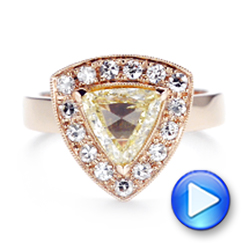 14k Rose Gold Custom Yellow And White Diamond Halo Engagement Ring - Video -  103068 - Thumbnail