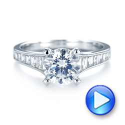 18k White Gold Tapered Baguettes Diamond Engagement Ring - Video -  103093 - Thumbnail
