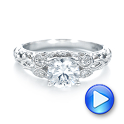 14k White Gold 14k White Gold Filigree Diamond Engagement Ring - Video -  103101 - Thumbnail