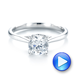 18k White Gold Classic Solitaire Engagement Ring - Video -  103103 - Thumbnail