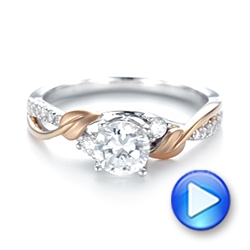 Three-Stone Two-Tone Diamond Engagement Ring - Interactive Video - 103105 - Thumbnail