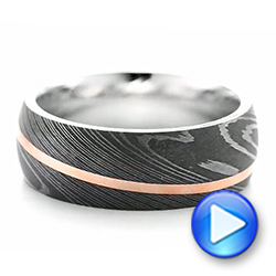 Damascus Steel and 14k Rose Gold Wedding Band - Interactive Video - 103120 - Thumbnail