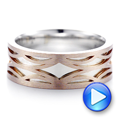 14K Gold And 18k Rose Gold 14K Gold And 18k Rose Gold Two-tone Filigree Men's Band - Video -  103127 - Thumbnail