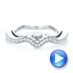 14k White Gold And 14K Gold Custom Two-tone Diamond Wedding Band - Video -  103132 - Thumbnail