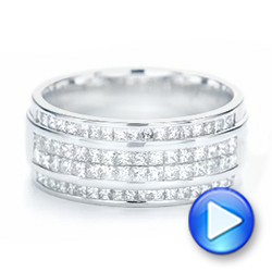 14k White Gold Custom Diamond Men's Wedding Band - Video -  103133 - Thumbnail