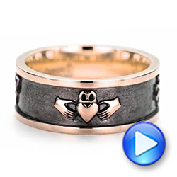 Custom Rose Gold Black Antiqued Men's Band - Interactive Video - 103134 - Thumbnail