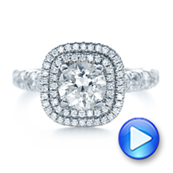 Platinum Custom Diamond Halo Engagement Ring - Video -  103139 - Thumbnail