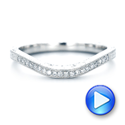 Platinum Custom Hand Engraved Diamond Wedding Band - Video -  103142 - Thumbnail