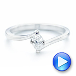 18k White Gold Custom Solitaire Diamond Engagement Ring - Video -  103144 - Thumbnail
