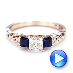 Custom Rose Gold Three Stone Blue Sapphire and Diamond Engagement Ring - Interactive Video - 103146 - Thumbnail
