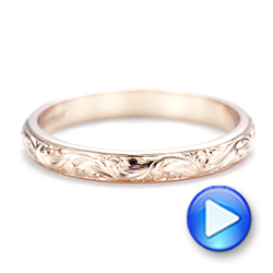 14k Rose Gold Custom Hand Engraved Wedding Band - Video -  103147 - Thumbnail