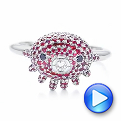 Platinum Custom Ruby And Diamond Fashion Ring - Video -  103148 - Thumbnail
