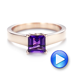 Custom Rose Gold Amethyst Solitaire Engagement Ring - Interactive Video - 103163 - Thumbnail