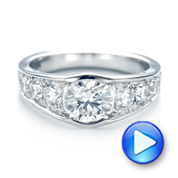 18k White Gold Custom Diamond Engagement Ring - Video -  103165 - Thumbnail