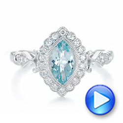 14k White Gold Aquamarine And Diamond Halo Vintage-inspired Ring - Video -  103172 - Thumbnail