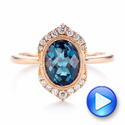 Rose Gold Diamond and London Blue Topaz Fashion Ring - Interactive Video - 103173 - Thumbnail