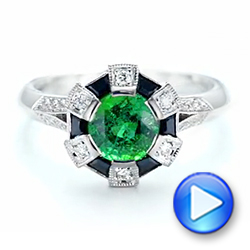 Custom Emerald, Black and White Diamond Engagement Ring - Interactive Video - 103208 - Thumbnail