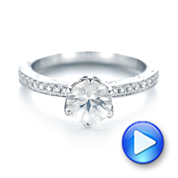 Custom White Sapphire and Diamond Engagement Ring - Interactive Video - 103211 - Thumbnail