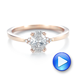 14k Rose Gold Custom Diamond Engagement Ring - Video -  103212 - Thumbnail