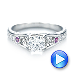 Custom Pink Sapphire and Diamond Engagement Ring - Interactive Video - 103213 - Thumbnail