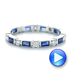 Custom Blue Sapphire and Diamond Eternity Wedding Band - Interactive Video - 103217 - Thumbnail