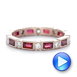 14k Rose Gold Custom Ruby And Diamond Eternity Wedding Band - Video -  103226 - Thumbnail