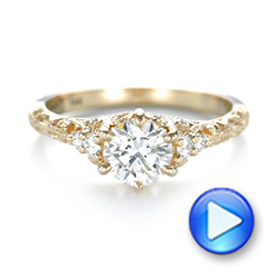 Custom Yellow Gold Diamond Engagement Ring - Interactive Video - 103227 - Thumbnail