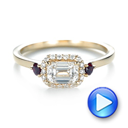 Custom Three Stone Ruby and Diamond Engagement Ring - Interactive Video - 103239 - Thumbnail