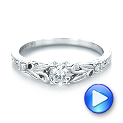 Custom Hand Engraved Diamond Engagement Ring - Interactive Video - 103242 - Thumbnail