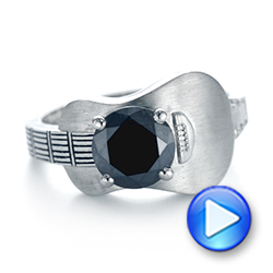 Platinum Custom Solitaire Black Diamond Engagement Ring - Video -  103269 - Thumbnail