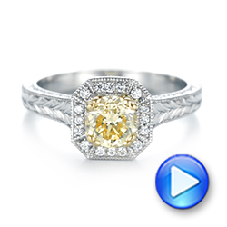 Platinum And 18K Gold Custom Two-tone Yellow And White Diamond Halo Engagement Ring - Video -  103270 - Thumbnail