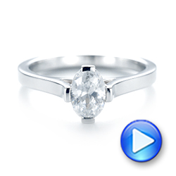 18k White Gold Solitaire Diamond Engagement Ring - Video -  103274 - Thumbnail