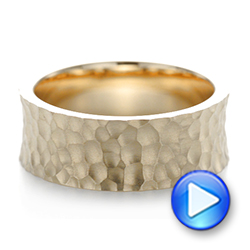 14k Yellow Gold Custom Hammered And Brushed Men's Wedding Band - Video -  103285 - Thumbnail
