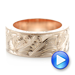 Custom Rose Gold Hand Engraved Wedding Band - Interactive Video - 103287 - Thumbnail
