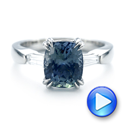 Custom Three Stone Zoisite and Diamond Engagement Ring - Interactive Video - 103288 - Thumbnail