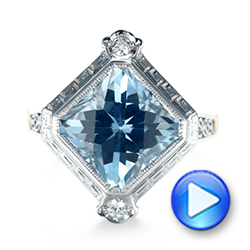 Custom Two-Tone Aquamarine and Diamond Fashion Ring - Interactive Video - 103289 - Thumbnail