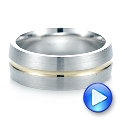 14K Gold And 14k Yellow Gold Custom Two-tone Men's Wedding Band - Video -  103290 - Thumbnail