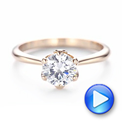 14k Rose Gold Elegant Solitaire Engagement Ring - Video -  103295 - Thumbnail