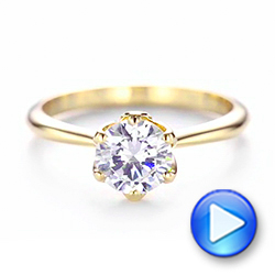 14k Yellow Gold Elegant Solitaire Engagement Ring - Video -  103299 - Thumbnail