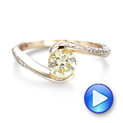Custom Rose Gold Yellow and White Diamond Engagement Ring - Interactive Video - 103301 - Thumbnail