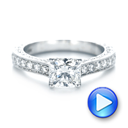 18k White Gold Custom Diamond Engagement Ring - Video -  103303 - Thumbnail