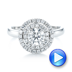 Platinum Custom Diamond Double Halo Engagement Ring - Video -  103306 - Thumbnail