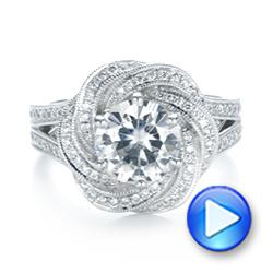Custom Diamond Halo Engagement Ring - Interactive Video - 103325 - Thumbnail