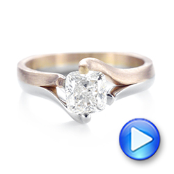Custom Two-Tone Solitaire Diamond Engagement Ring - Interactive Video - 103329 - Thumbnail