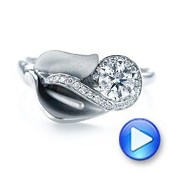 14k White Gold Custom Diamond Halo Lily Engagement Ring - Video -  103335 - Thumbnail